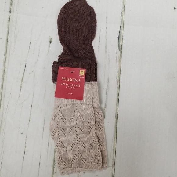 Merona Over-The-Knee Socks Oatmeal Brown or Black Crochet Top